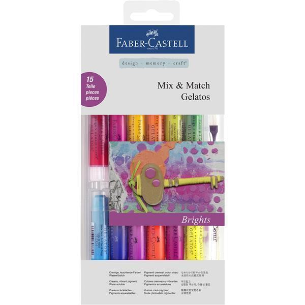 Set 12 Pasteluri Solubile Gelatos si 3 Accesorii Culori Aprinse Faber-Castell