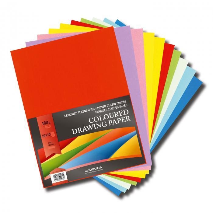 Carton color A4+, 160g/mp - 100 coli/top, AURORA Raphael -  10 culori intense 0