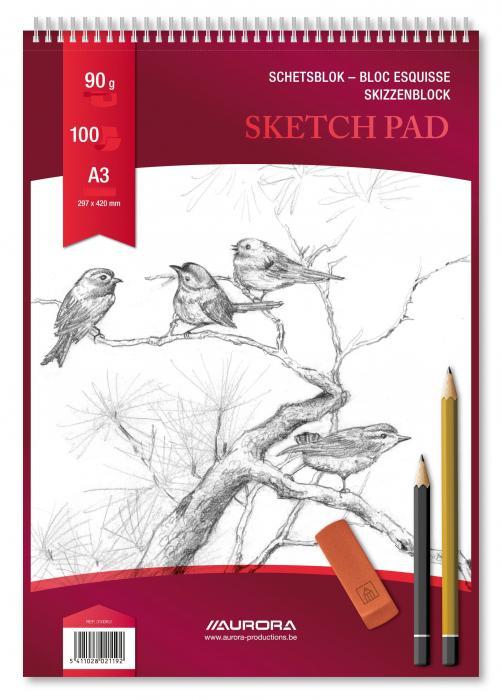 Bloc desen cu spirala, A3, 100 file - 90g/mp, pentru schite creion, AURORA Esquisse