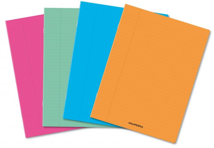 Caiet A4, 36 file - 80g/mp, liniat stanga, coperta PP transparent color, AURORA - matematica 0
