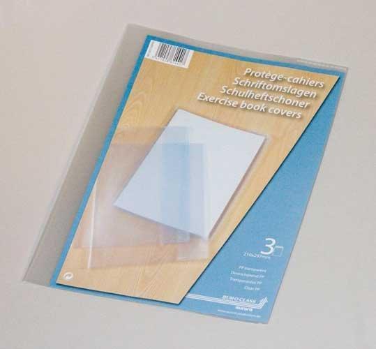 Coperta PP - 120 microni, pentru caiet A4, 3 buc/set, AURORA - transparent cristal 0