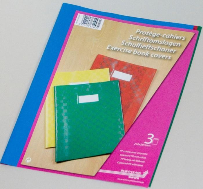 Coperta PP - 120 microni, cu eticheta, pentru caiet A4, 3 buc/set, AURORA - culori asortate 1
