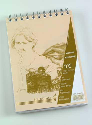 Bloc desen cu spirala, A5, 100 file - 90g/mp, pentru schite creion, AURORA Esquisse 2