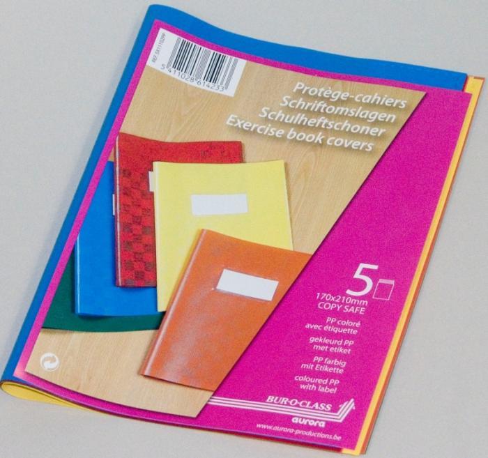 Coperta PP - 120 microni, cu eticheta, pentru caiet A5, 5 buc/set, AURORA - culori asortate 0