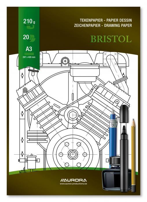 Bloc desen A3, 20 file - 210g/mp, pentru schite creion/marker, AURORA Bristol 1