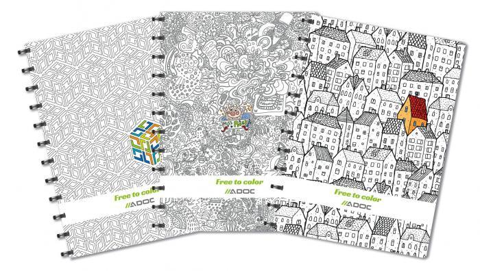 Caiet A4, 72 file - 90g/mp, coperta carton embosat - free to colour, AURORA Adoc Crea - dictando