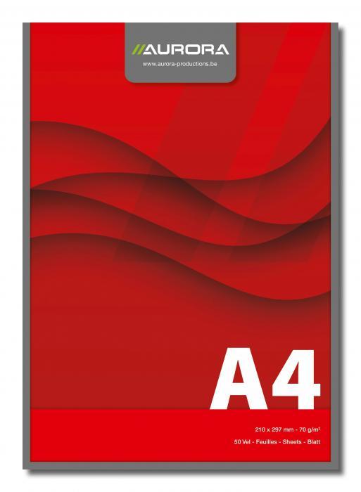 Blocnotes lipit, A4,  50 file - 70g/mp, AURORA Office - velin 0