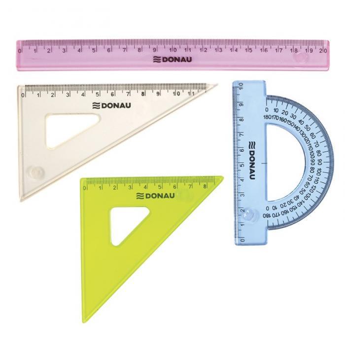 Set geometrie mic, contine: rigla 20cm, raportor, echer 10.5cm si echer 15cm, DONAU -culori asortate 0