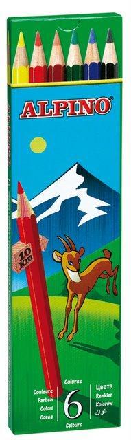 Creioane colorate, cutie carton,  6 culori/set, ALPINO 0