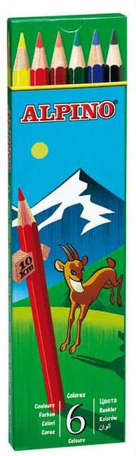 Creioane colorate, cutie carton,  6 culori/set, ALPINO 2