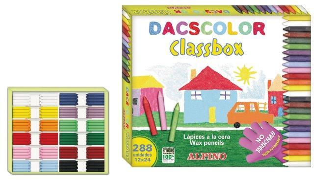 Creioane cerate semi-soft, cutie carton, 24 x 12 culori/cutie, ALPINO DacsColor Economy pack 0