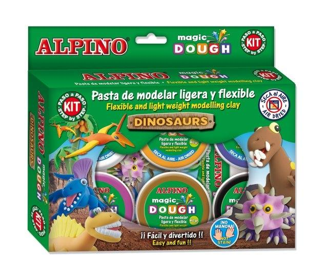 Kit 6 culori x 40gr plastilina magica + 4 seturi accesorii, ALPINO Dinosaurs 1