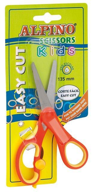 Foarfeca copiii, 13.5 cm, cu spatiu personalizare nume, in blister, ALPINO Kids