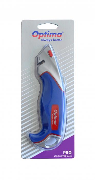 Cutter profesional Optima, lama trapezoidala + 2 rezerve SK5, aluminiu cu rubber grip