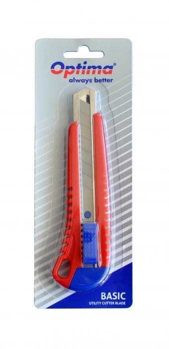 Cutter basic Optima, lama 18mm SK7, sina metalica, ABS