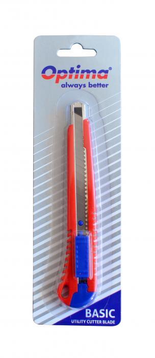 Cutter basic Optima, lama  9mm SK7, sina metalica, ABS 0