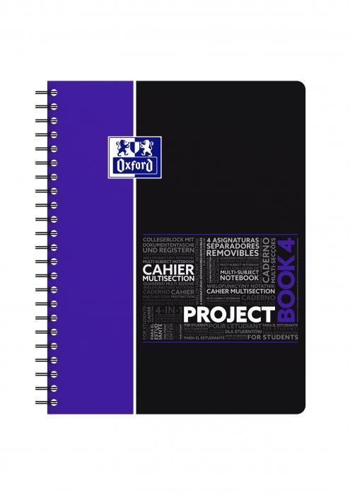 Caiet cu spirala A4+, OXFORD Student Projectbook, 100 file-90g/mp, 4 perf., coperta PP - dictando