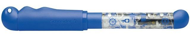 Stilou SCHNEIDER Base Kid (tip A - incepator) - corp albastru cu décor 1