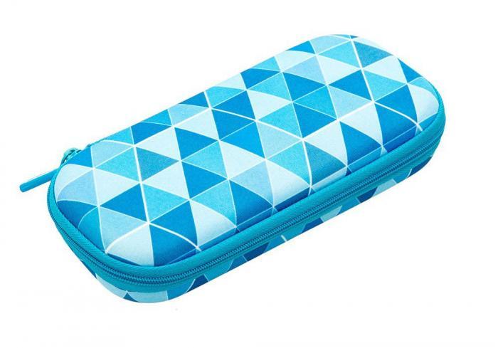 Penar cu fermoar, ZIP..IT Colorz box - triunghiuri albastre - EAN 7290103196875 0