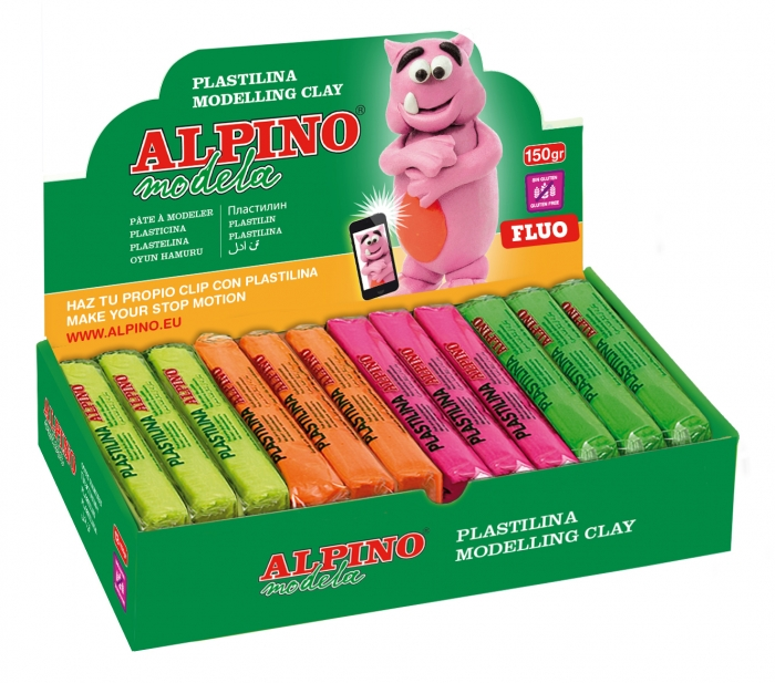Display plastilina fluorescenta, 12 x 150gr./display, ALPINO - 6 culori asortate 0