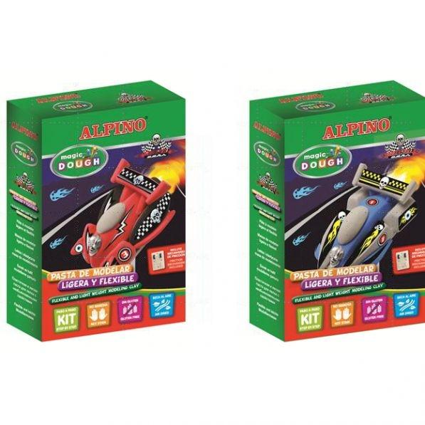 Kit 3 culori plastilina magica + set accesorii, ALPINO Rapid Cars 0