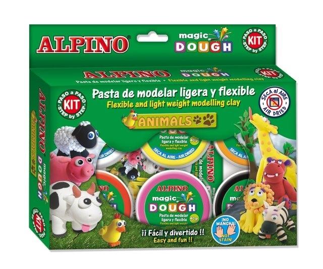 Kit 6 culori x 40gr plastilina magica + 4 seturi accesorii, ALPINO Animals 0