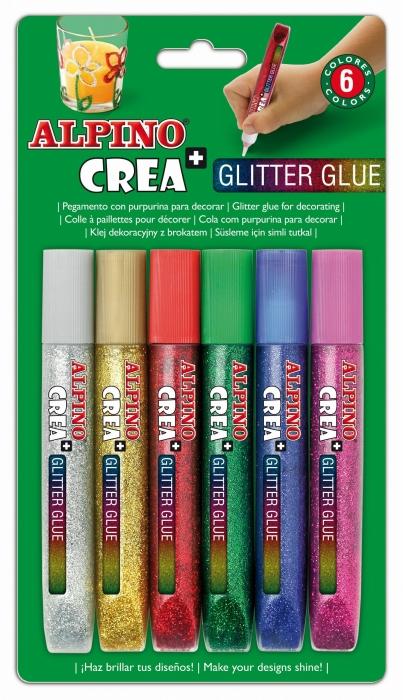 Lipici Glitter Classic, 6 buc/blister, ALPINO Crea+
