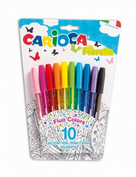 Pix cu cerneala fluorescenta, 10 buc/blister, CARIOCA Fiorella 0