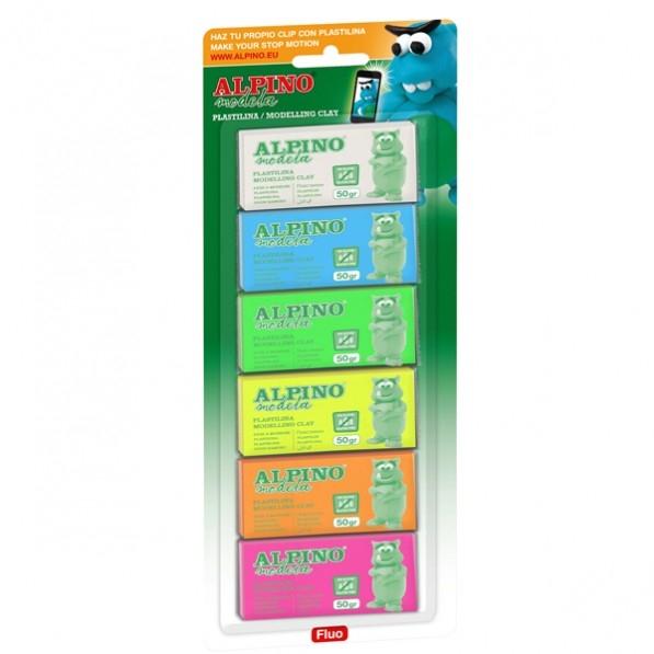 Plastilina neon, 6 culori x 30 grame/blister, ALPINO 0