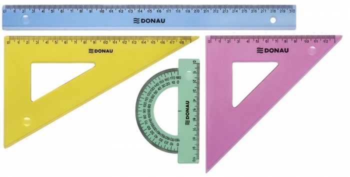 Set geometrie mare, contine: rigla 30cm, raportor, echer 13cm si echer 19cm, DONAU - culori asortate 1